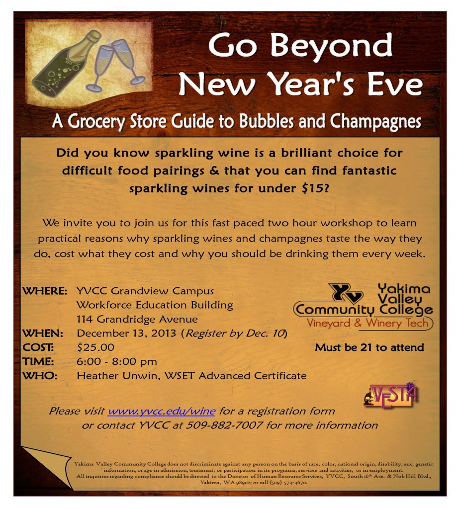 Exploring Wines of the World: Sparkling Wines @ YVCC Grandview Campus | Grandview | Washington | United States