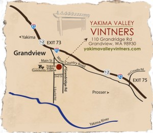 Map to Yakima Valley Vintners Teaching Winery